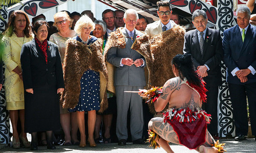 A royal welcome. Prince Charles and the Duchess of Cornwall both wore a Korowai — a traditional Maori feather cloak — as they were greeted by a Maori warrior during their visit to the tribes headquarters in the in the Waikato region of New Zealand. The Maori are indigenous Polynesian people and make up about 15 percent of the country's population. 