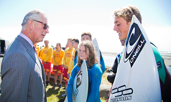 Surf's up. Prince Charles dons his shades to meet with surfers in New Plymouth, New Zealand.