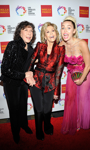 November 7: Everyone open wide! Lily Tomlin, Jane Fonda and Miley Cyrus had fun on the carpet at the Los Angeles LGBT Center 46th Anniversary Gala Vanguard Awards in Century City, California.