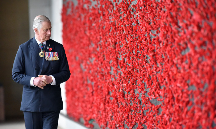 Remembering the soldiers that died in the two World Wars and the conflicts since, Prince Charles walks along the Roll of Honour at the Australian War Memorial in Canberra on November 11. <br>