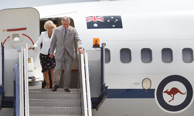 The Duchess of Cornwall and Prince Charles touch down in Australia, after six days in New Zealand. <br>