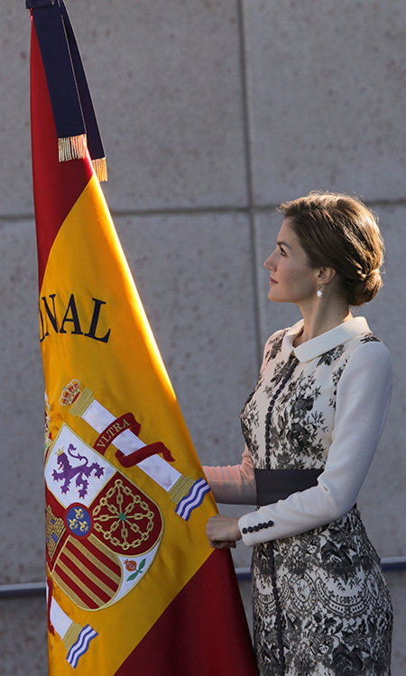 A typically elegant Queen Letizia adjusting the Spanish flag as she prepares to present it to the National Police in Avila, Spain. 