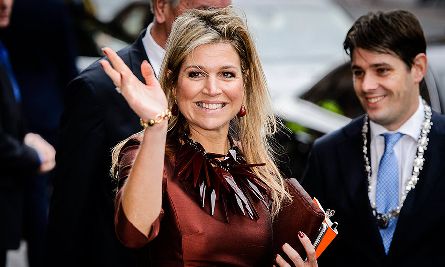 Queen Maxima of the Netherlands dazzled in an impressive array of coordinating accessories (and even nail polish!) at the opening of a business conference in Amsterdam. 