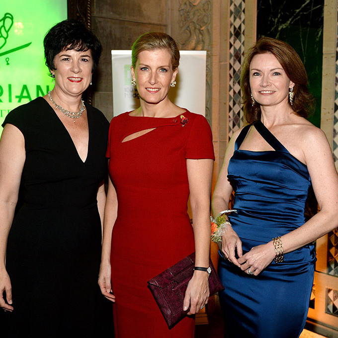 Royal in red Sophie Wessex joined 100 Women in Hedge Funds CEO Amanda Pullinger, left, and Global Chair Mimi Drake during the 100WHF Foundation Gala at Cipriani 42nd Street in New York City. 