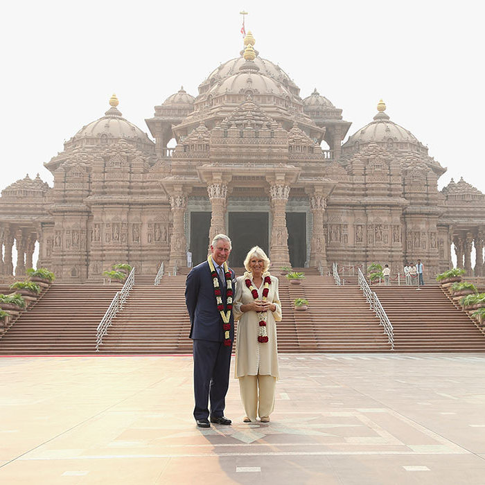 The royal couple outside the Akshardham Temple in Delhi.