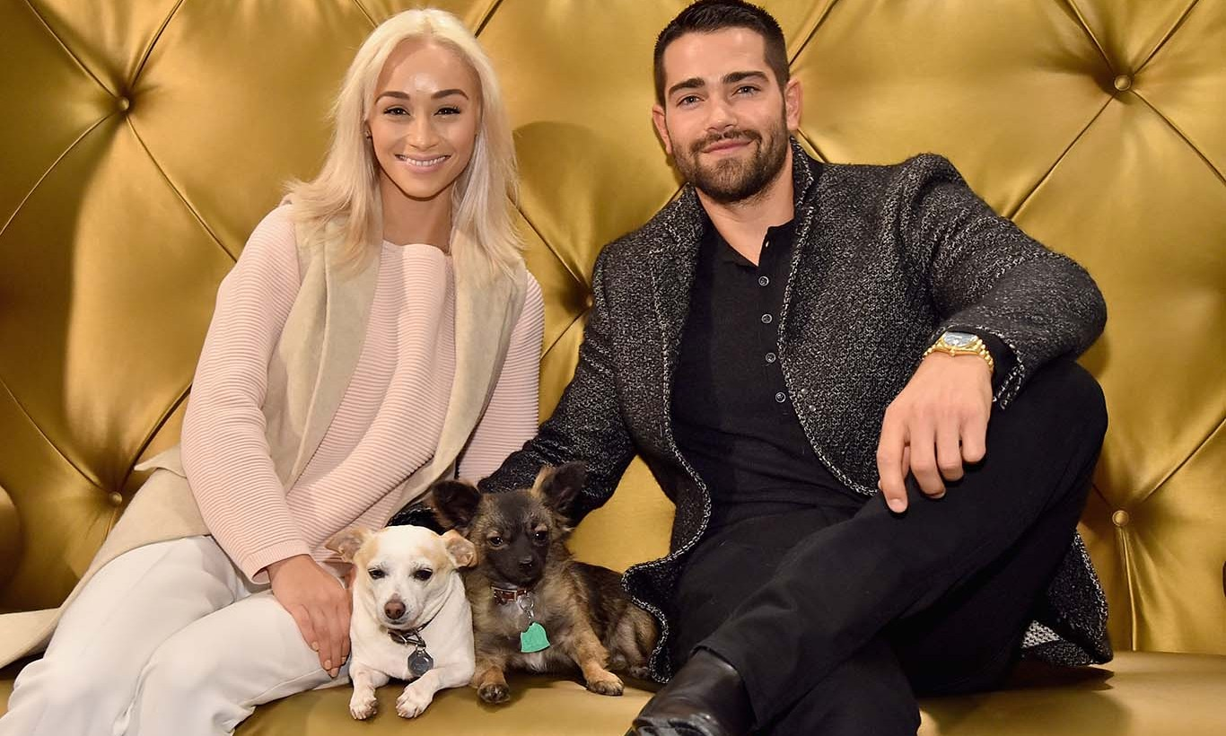 November 12: Jesse Metcalfe and Cara Santana helped the Beverly Center kick off its annual 'Holiday Pet Portraits' with their two pups Shepard and Dexter. 