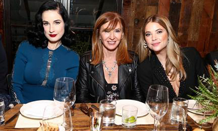 November 12: Hello ladies! Dita Von Teese, Nicole Miller and Ashely Benson celebrated Flaunt Magazine's the 'Dial Up' issue and holiday collection honoring the 'Pretty Little Liars' star.
