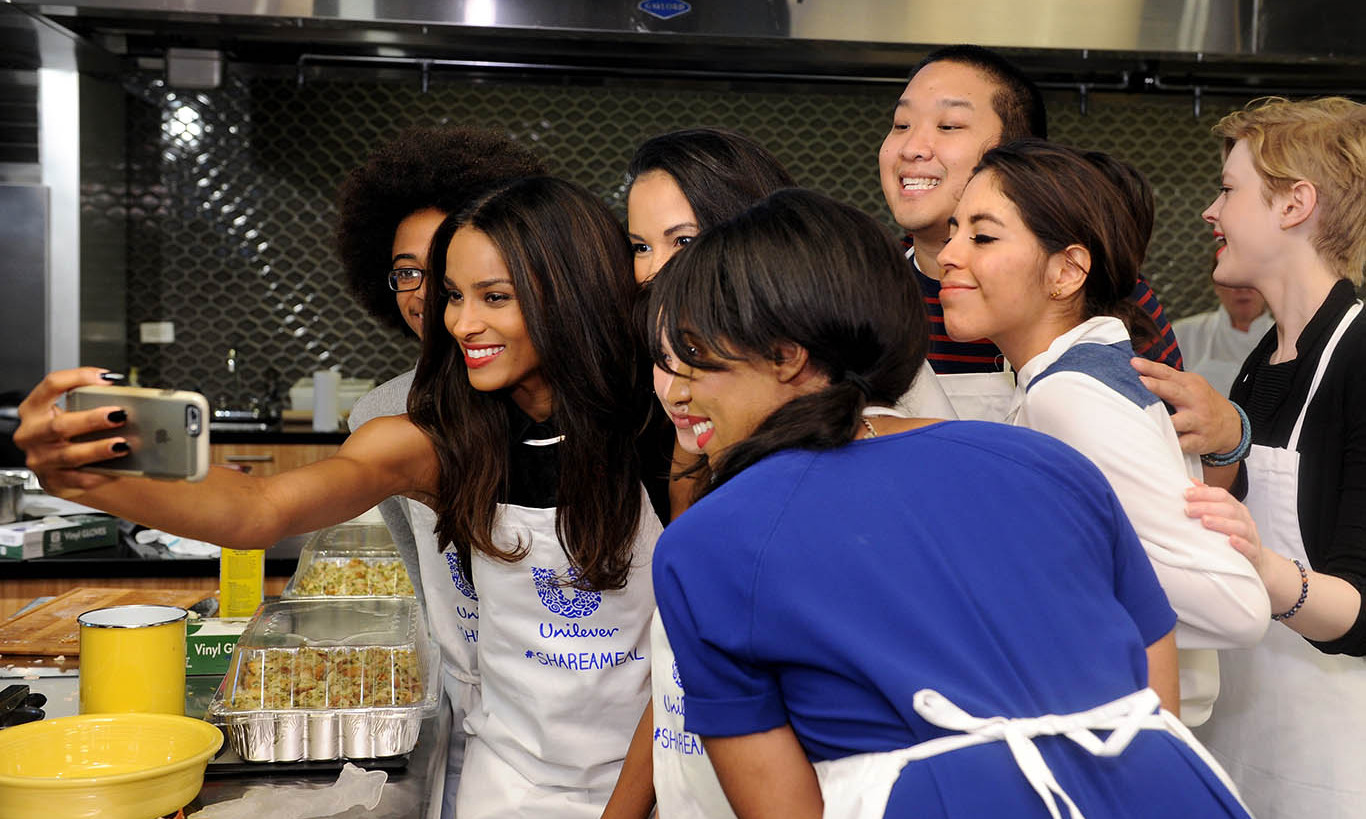 "November 12: Ciara proved there is always time for a selfie and to give back after teaming up with Unilever to help ""Share a Meal"" end child hunger.