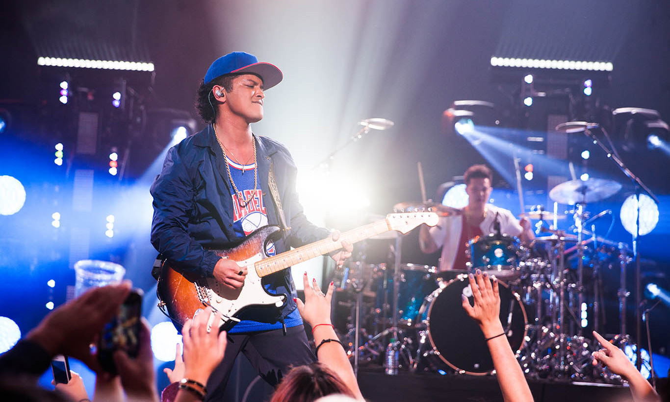 November 10: Uptown Funk! Bruno Mars rocked the house at the T-Mobile  Un-Carrier X launch party and concert at the Shrine Auditorium in L.A. 