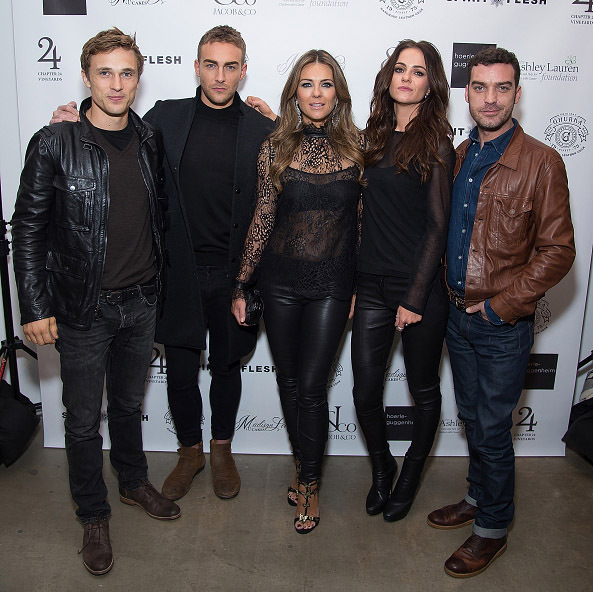November 9: Royal treatment! The cast of E!'s 'The Royals,'  William Moseley, Tom Austen, Elizabeth Hurley, Alexandra Park and Jake Maskal, attended the Spirit & Flesh Magazine's Evening Of Art, Fashion and Friends at Hoerle-Guggenheim Gallery in New York City.