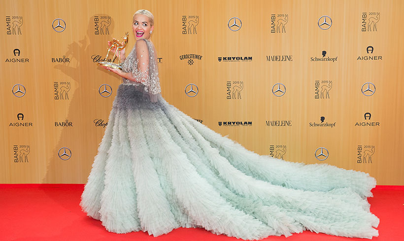 November 12: Rita Ora showed off her best international music artist Bambi Award – and her amazing Marchesa gown.