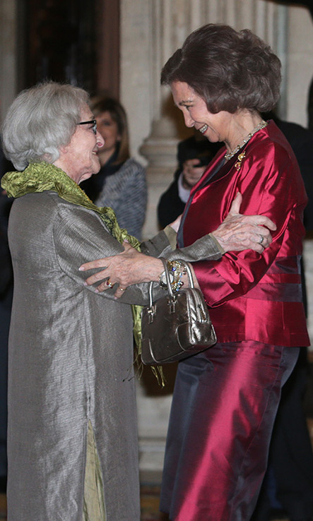 Queen Sofia of Spain gave a celebatory hug to Ida Vitale after she received the Reina Sofia Ibero-American Poetry Prize at the Royal Palace of Madrid.