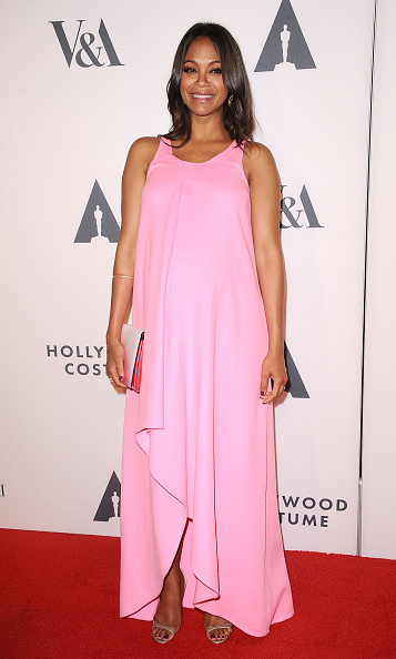October 2014: Twinning! Zoe Saldana was pretty in pink during her appearance at the Academy of Motion Picture Arts and Sciences Hollywood Costume party last year. Zoe and her husband Marco Perego welcomed their twin boys Cy and Bowie in January. 