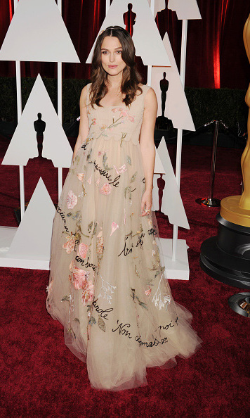 February 2015: Keira Knightley dressed up her bump in a beautiful floral gown during the 87th annual Academy Awards in Hollywood. Keira and husband James Righton welcomed their baby girl Edie in May. 