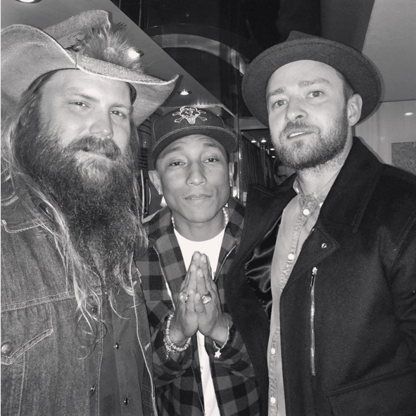 November 17: Boys night out! Chris Stapleton posed for a picture with Pharrell and Justin Timberlake after his concert at the El Rey theatre in Los Angeles. 