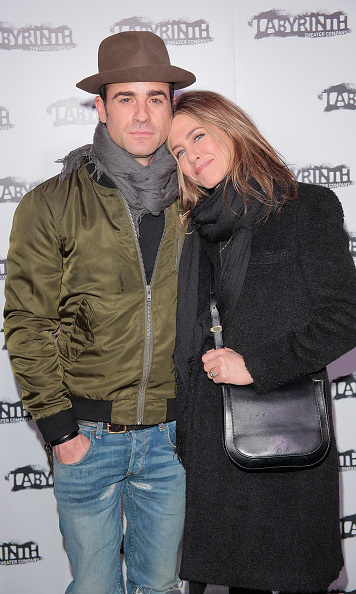 November 16: Bundled up! Jennifer Aniston and Justin Theroux stayed closed during the Celebrity Charades Goes Medieval gala in New York City. 