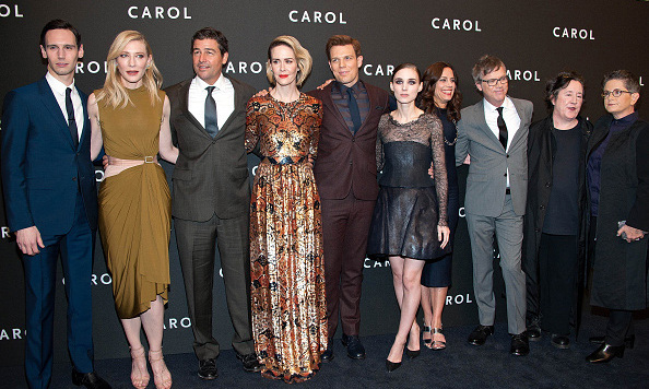 November 16: The cast and crew of 'Carol,' Cory Michael Smith, Cate Blanchett, Kyle Chandler, Sarah Paulson, Jake Lacy, Rooney Mara, producer Elizabeth Karlsen, director Todd Haynes, producer Christine Vachon, and writer Phyllis Nagy were all dressed to the nines at the film's premiere at the Museum of Modern Art in New York City.