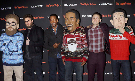 November 16: Seeing double for Christmas! Seth Rogen, Anthony Mackie and Joseph Gordon-Levitt posed with their bobble-head-buddies during the New York City premiere of their holiday comedy 'The Night Before.'