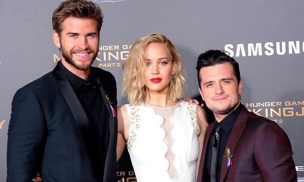 November 16: Liam Hemsworth, Jennifer Lawrence and Josh Hutcherson were the best dressed trio at the Los Angeles premiere of their latest film 'The Hunger Games: Mockingjay - Part 2 where they met fans in the Samsung VIP area prior to the film.