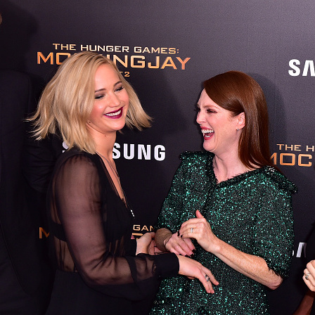 November 18: Jennifer Lawrence got handsy with Julianne Moore at the NYC premiere of 'The Hunger Games: Mockingjay - Part 2.'