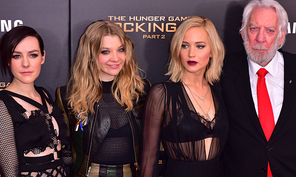 November 18: Jena Malone, Natalie Dormer, Jennifer Lawrence and Donald Sutherland joined forces for the 'The Hunger Games: Mockingjay - Part 2' carpet in NYC.