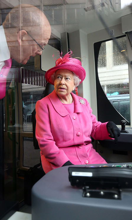 """And what does this button do?"" Her Majesty also tried her hand at train driving during the tour. 