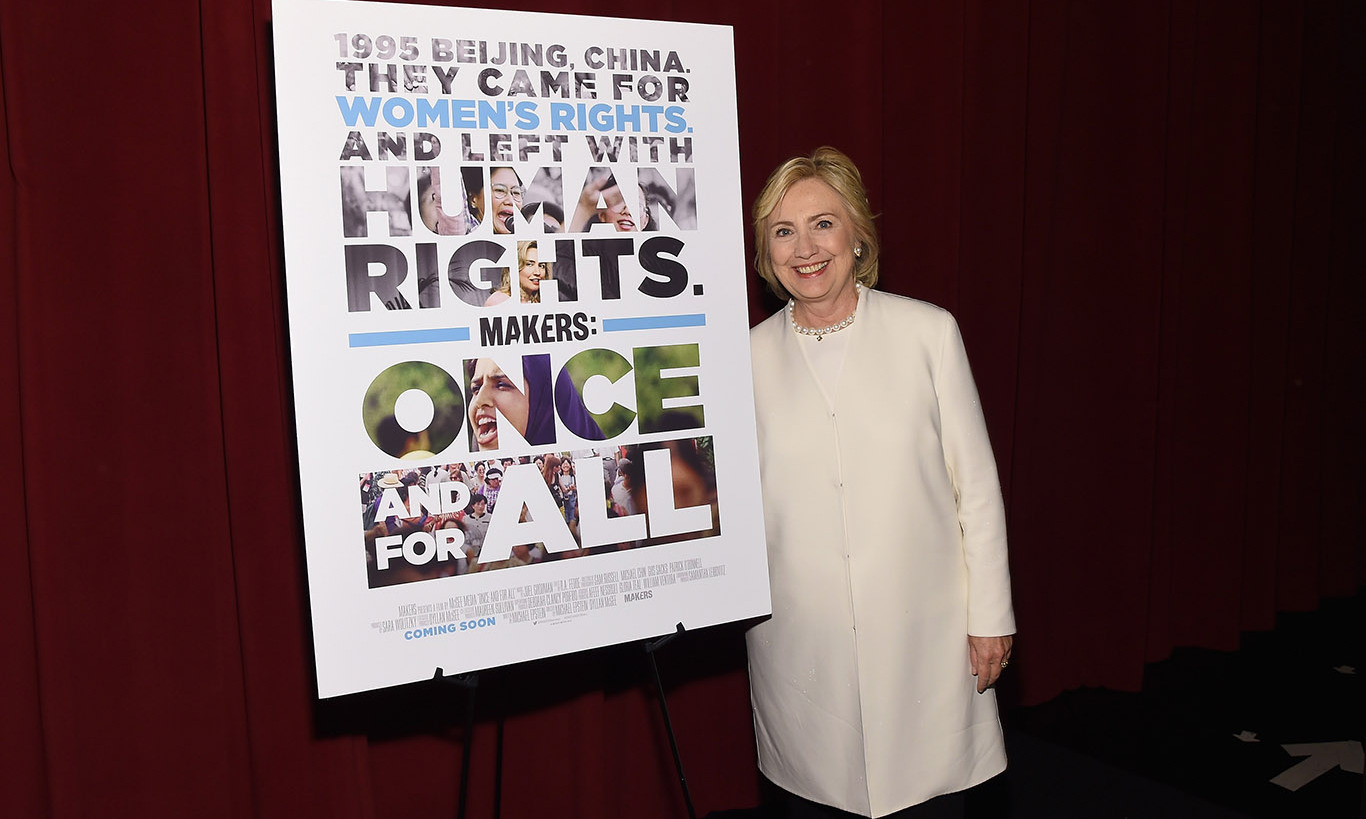 November 19: Hillary Clinton and AOL's MAKERS celebrated the premiere of 'MAKERS: Once and For All at the SVA Theatre in New York City. 