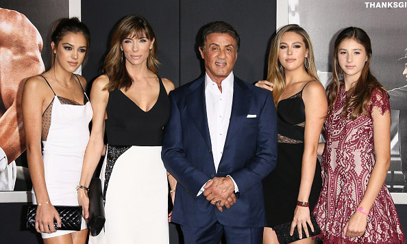 November 19: A family of knockouts! Sylvester Stallone and his model wife Jennifer Flavin walked the red carpet with their three beautiful daughters, Sistine, 17, Sophia, 17, and Scarlet, 13, at the premiere of 'Creed' in Westwood, California. 