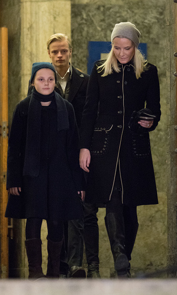 Crown Princess Mette-Marit of Norway got some support from her daughter Princess Ingrid and son Marius at a Paris Memorial in Oslo.