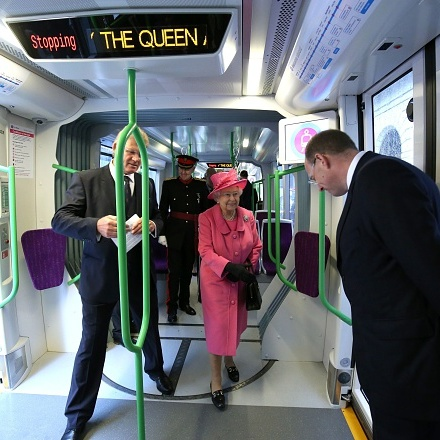 All aboard the Royal Express! Queen Elizabeth was given a tour of a tram on Birmingham's Metroline Tramline Extension. 