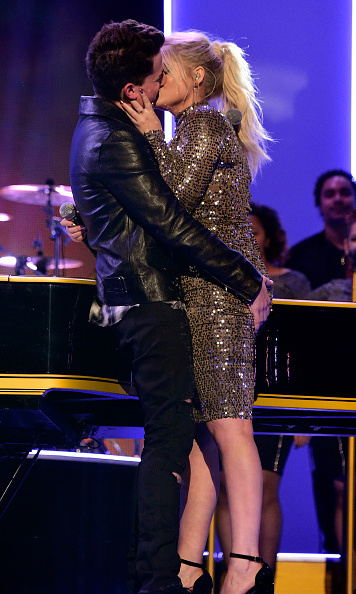 "The kiss seen around the world (and Internet). After performing their singles, ""Like I'm Gonna Lose You"" and ""Marvin Gaye,"" Meghan Trainor and Charlie Puth took a cue from the Marvin Gaye lyrics and took a moment to ""get it on"" on stage!
