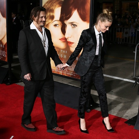 November 21: 'The Danish Girl' star Amber Heard made the perfect match with husband Johnny Depp at the L.A. premiere of the movie. 