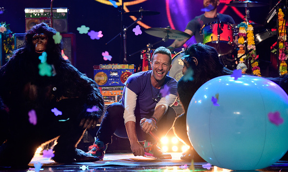 "There was some monkey business on stage as Coldplay performed their new single, ""Adventure of a Lifetime.""