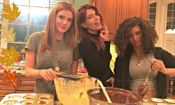 "Bella Thorne got cooking in the kitchen with her crew, and invited fans to join in, posting: ""Holiday cooking and baking begins. Follow me on snap for yummy food ideas.""