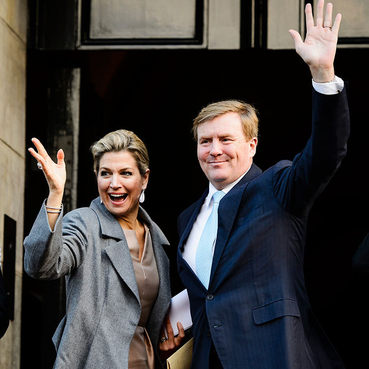 Queen Maxima of the Netherlands and King Willem-Alexander waved as they arrived at the Erasmus Prize 2015 award ceremony in Amsterdam. <br>Photo: Getty Images