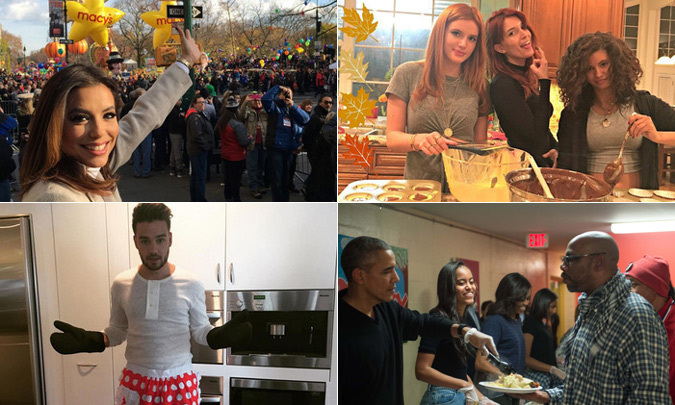 From big family parties to the Macy's Thanksgiving Day Parade, find out what your favorite celebrities did to celebrate this holiday with our round-up of the best pictures.