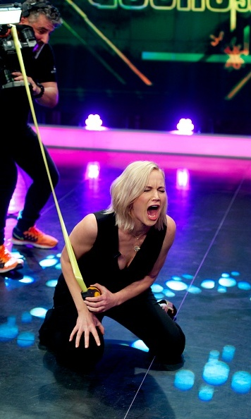 Jennifer swapped her bow and arrow for measuring tape during the appearance on 'El Hormiguero' in Madrid.