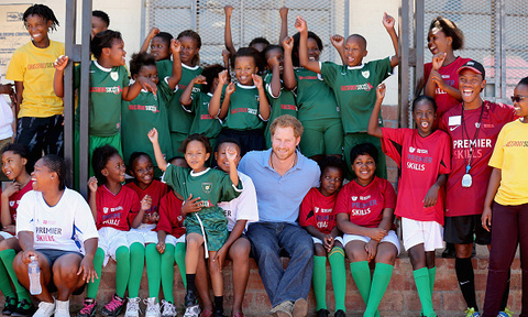 Spot the royal! Prince Harry played some soccer in a Football for Hope session with Grassroots Soccer in Khayelitsha.