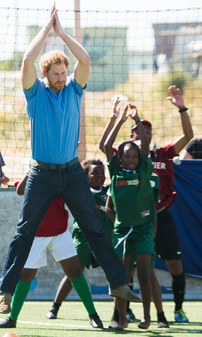 Harry took part in some of the exercises the kids learn at the center.