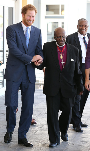 The youngest of Prince Charles' sons escorted Archbishop Desmond Tutu at the V&A Waterfront in Cape Town.