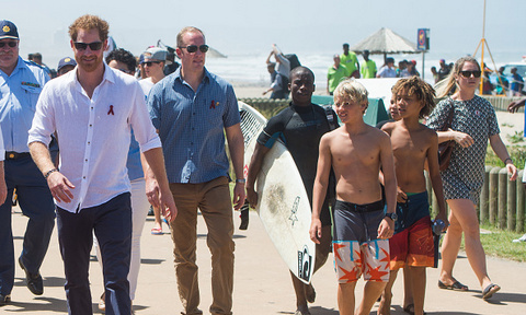 Prince Harry watched some of the kids surf while he visited with Surfers Not Street Children.