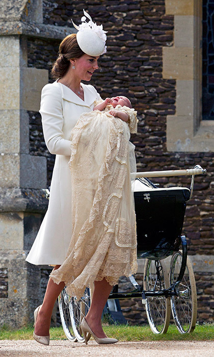 The Duchess of Cambridge carried her new baby daughter into the church ahead the little girl's christening. Princess Charlotte wore the same beautiful lace christening gown that her brother had worn for his ceremony. 