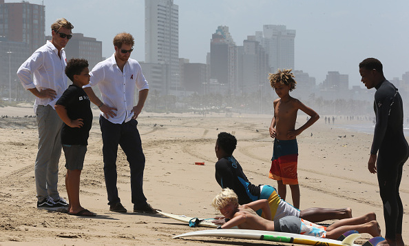 The young royal paid a visit to Durban beach in Durban, South Africa to watch participants from the project Surfers Not Street Children show off their surf skills. The organization helps to empower children and change their lives through surfing and mentorships. 