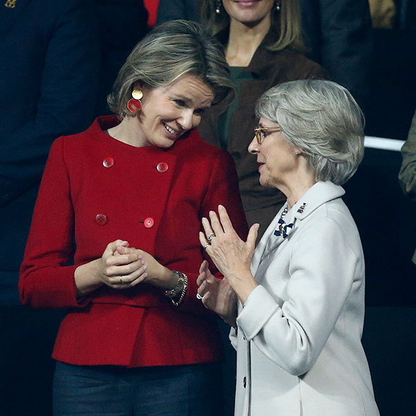Not letting sporting rivalries get in the way of a friendly chat, Queen Matilde and the Duchess of Gloucester bonded over the Davis Cup while watching Britain's Andy Murray beat Belgium's David Goffin.