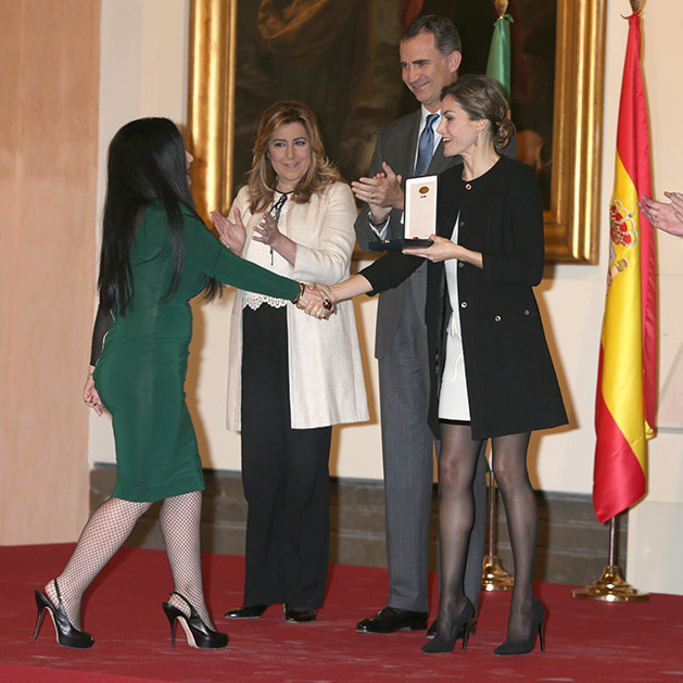 King Felipe VI and Queen Letizia of Spain handed out a medal for merit in fine art to the singer Alaska alongside the President of Andalucia, Susana Diaz in Sevilla, Spain<br>Photo: Gtres