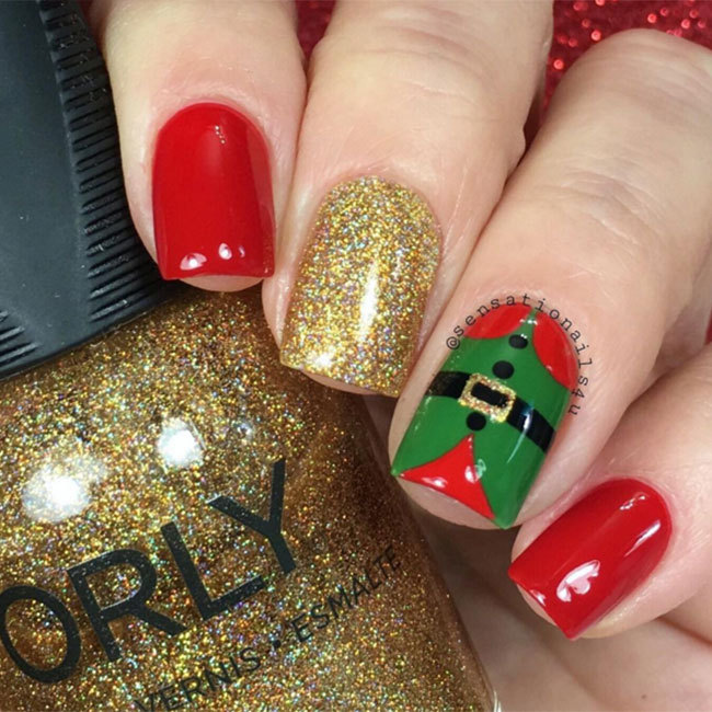 Pay tribute to Santa's little helpers with this easy and dazzling elf design. Follow the steps on the below Instagram account.