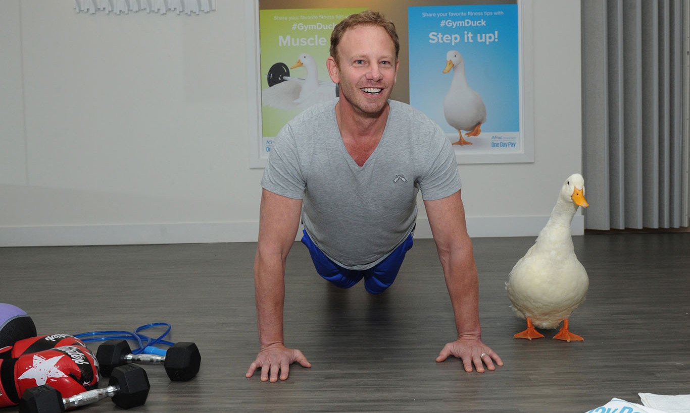 December 3: Working it out! Ian Ziering and the Aflac Duck showed off their fitness moves while celebrating Aflac's latest campaign 'The Duck hits the Gym,' in New York City. 