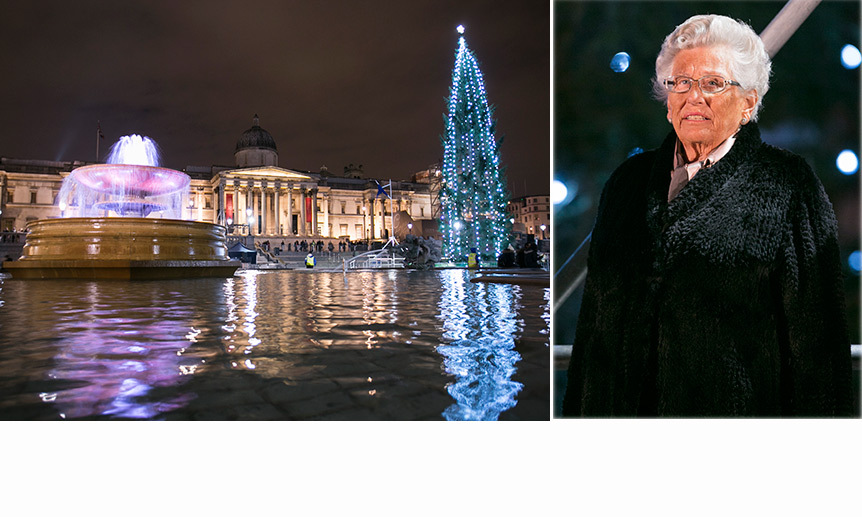 Princess Astrid of Norway - the older sister of King Harald - turned on the Christmas lights in Trafalgar Square in London. Since World War II, Norway has gifted a large Christmas tree to the U.K. in thanks for their help during the conflict. <br>Photos: Getty Images