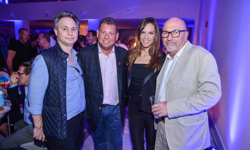 December 3: The parties never end! Actress Hilary Swank attended an event for artist Daniel Mazzone in partnership with Wheels Up at 1 Hotel & Homes South Beach with DuJour founder Jason Binn (left) and friends.