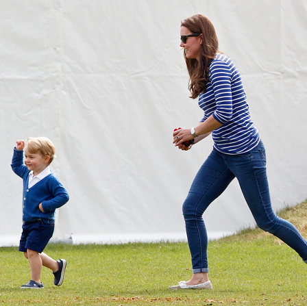 June 2015: On the run from mom, the little Prince enjoyed a day out with his cousins at his father's polo match.